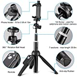 Eocean 40-Inch Selfie Stick Tripod, Extendable Selfie Stick with Wireless Remote and Tripod Stand for iPhone 8/iPhone 8 Plus/X/iPhone 7/iPhone 7 Plus/Galaxy Note 8/S8/S8 Plus & More