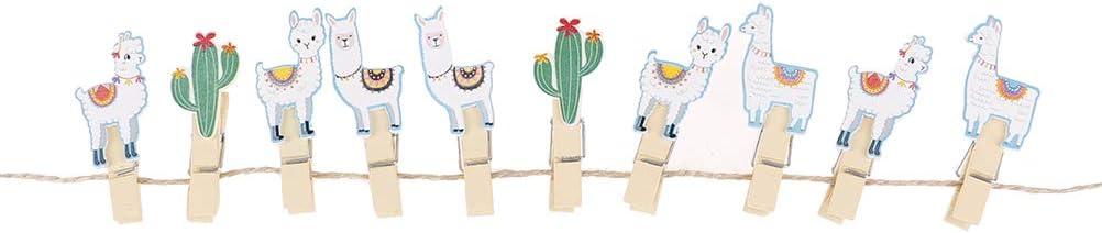 CHENLIGHT 10 St/ück Kaktus Alpaka Llamas Holzklammern mit Seil Vicugna Pacos Foto Clips Kindergeburtstag Party Dekoration Sommer Hawaiian Dekoration