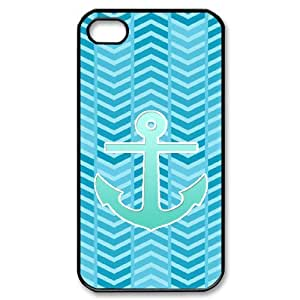 HOPPYS Customized Print Blue Chevron Anchor Pattern Back Case for iPhone 4/4S