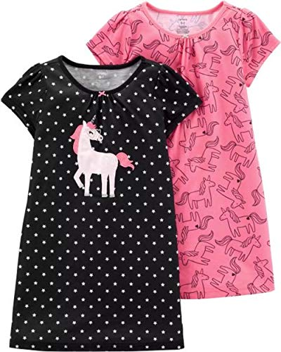 (Carter's Girls' 2 Pk Gown Poly 373g082 (6-7, Pink/Black)