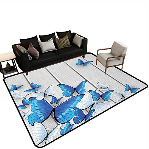 (Contemporary Synthetic Rug Butterflies,Blue and White Butterflies on Wooden Background Timber Wall Rustic Life,Silver Blue White,for Living Room Bedrooms Kids Nursery Home Decor 2'x 3')