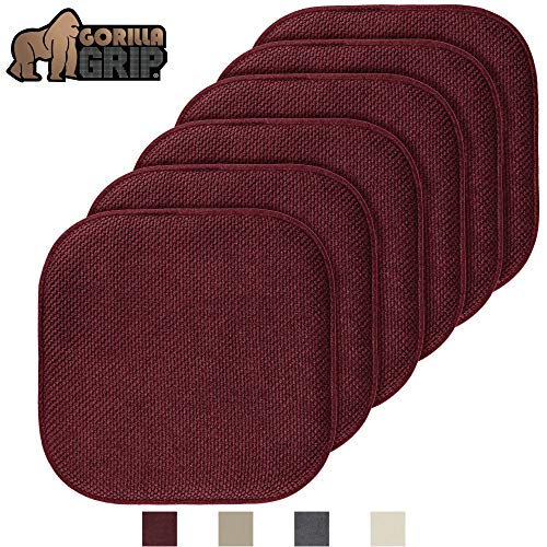 Gorilla Grip Original Premium Memory Foam Chair Cushions, 6 Pack, 16x16 Inch, Thick Comfortable Seat Cushion Pad, Large Size, Slip Resistant, Durable Soft Mat Pads for Office, Kitchen Chairs, Wine