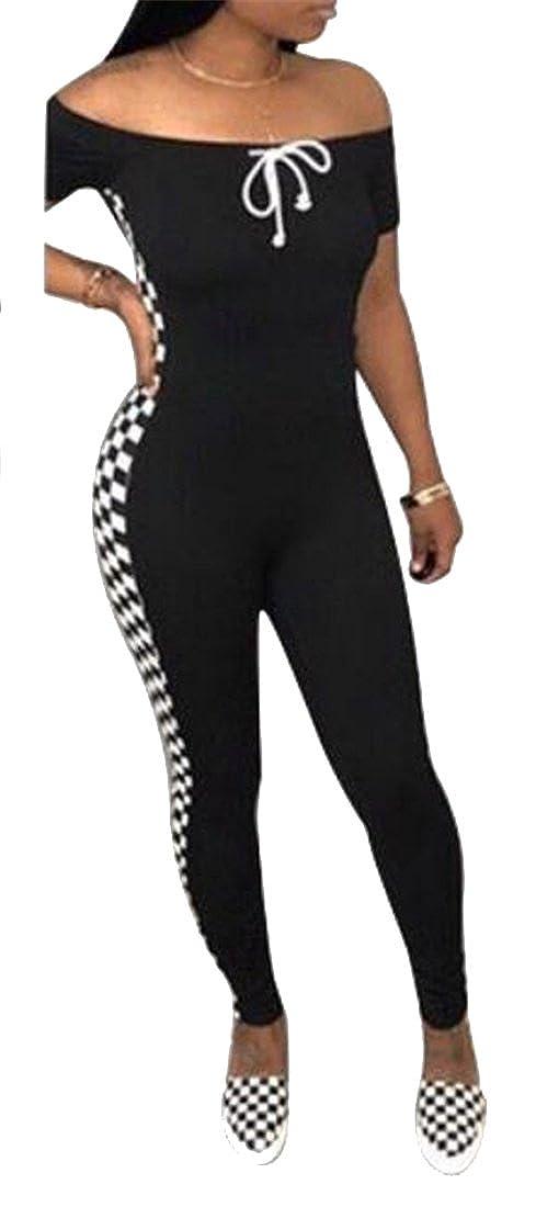 FSSE-Women Plaid Lace up Casual Sport Regular Fit Off The Shoulder Jumpsuit Romper
