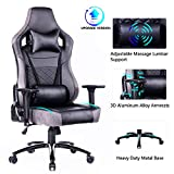 Blue Whale Big and Tall Gaming Chair with Massage Lumbar Support,Matel Base and 3D Aluminum Alloy Armrest Racing PC Computer Video Game Chair High Back PU Leather Office Desk Chair with Headrest Grey