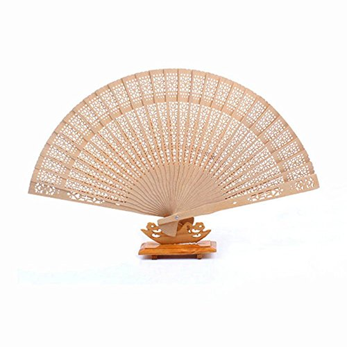 BleuMoo Chinese Fans Chinese Sandalwood Scented Wooden Openwork Folding Fan - Sandalwood Fan Scented