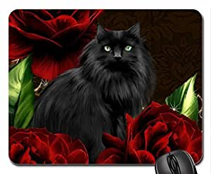 Black Cat Red Roses Mouse Pad, Mousepad (Cats Mouse Pad) by icecream design