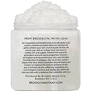 Avocado Body Scrub 10 oz - Exfoliating Scrub for Skin Brightening, Anti Aging and Dark Spots - Infused with Vitamin C and Avocado Oil to Exfoliate and Moisturize skin - Brooklyn Botany
