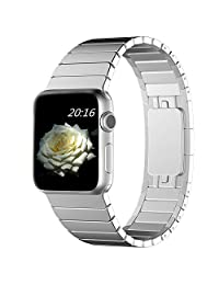 Apple Watch Band 42mm, top4cus Hi-Q Stainless Steel Replacement Smart Watch Band Link Bracelet with Double Button Folding Clasp for 42mm Apple Watch All Models. (42mm Silver)