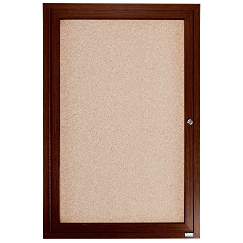 TableTop King WBC4836R 48'' x 36'' Enclosed Hinged Locking 1 Door Bulletin Board with Walnut Finish by TableTop King