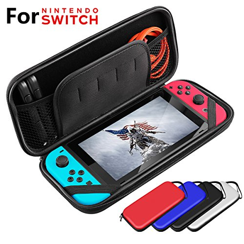 Switch Carrying Case for Nintendo Switch Bag Console & Accessories Compatible Protective Hard Shell Travel Carrying Case Cover Pouch Box Red with Game Card Slots by KUTOP