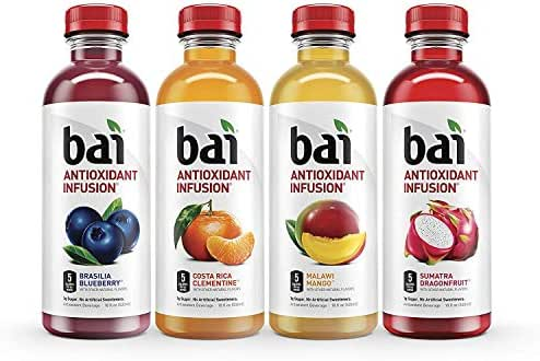 Bai Flavored Water, Rainforest Variety Pack, Antioxidant Infused Drinks, 18 Fluid Ounce Bottles, 12 count, 3 each of Brasilia Blueberry, Costa Rica Clementine, Malawi Mango, Sumatra Dragonfruit