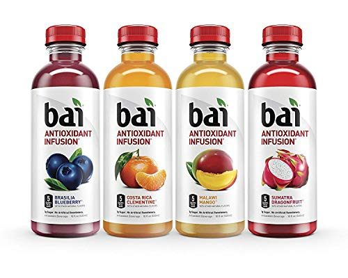 (Bai Flavored Water, Rainforest Variety Pack, Antioxidant Infused Drinks, 18 Fluid Ounce Bottles, 12 count, 3 each of Brasilia Blueberry, Costa Rica Clementine, Malawi Mango, Sumatra Dragonfruit)