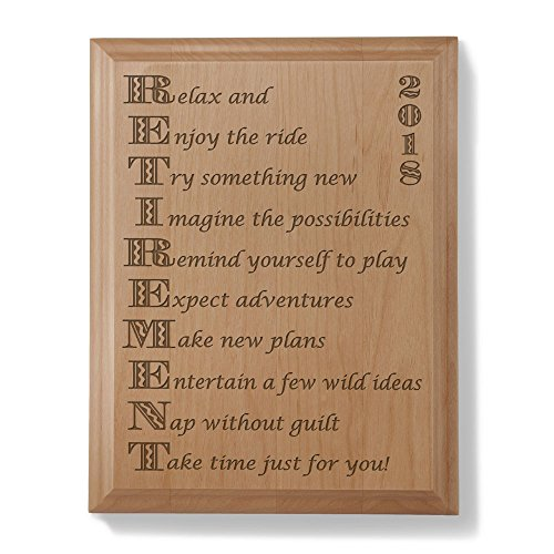 2018 Enjoy Retirement Wooden Plaque