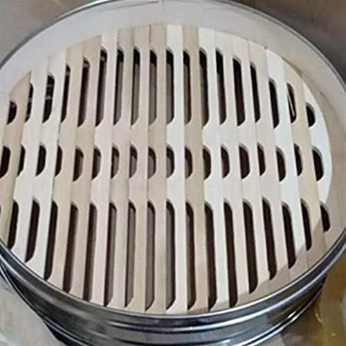 WGGTX Vaporisateur à Bambou Deux poignées Panier à Vapeur en Acier Inoxydable Panier de Vapeur Bamboo Boîte à Vapeur for la Cuisine à la Vapeur 1 PCS