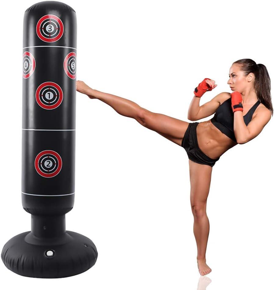 LncBoc Saco de Boxeo 160 cm, Saco de Boxeo de pie para un Rebote inmediato para Practicar Karate, Taekwondo y aliviar Pent Up Energy en niños Adultos, Ejercicio Boxeo Objetivo Bolsa