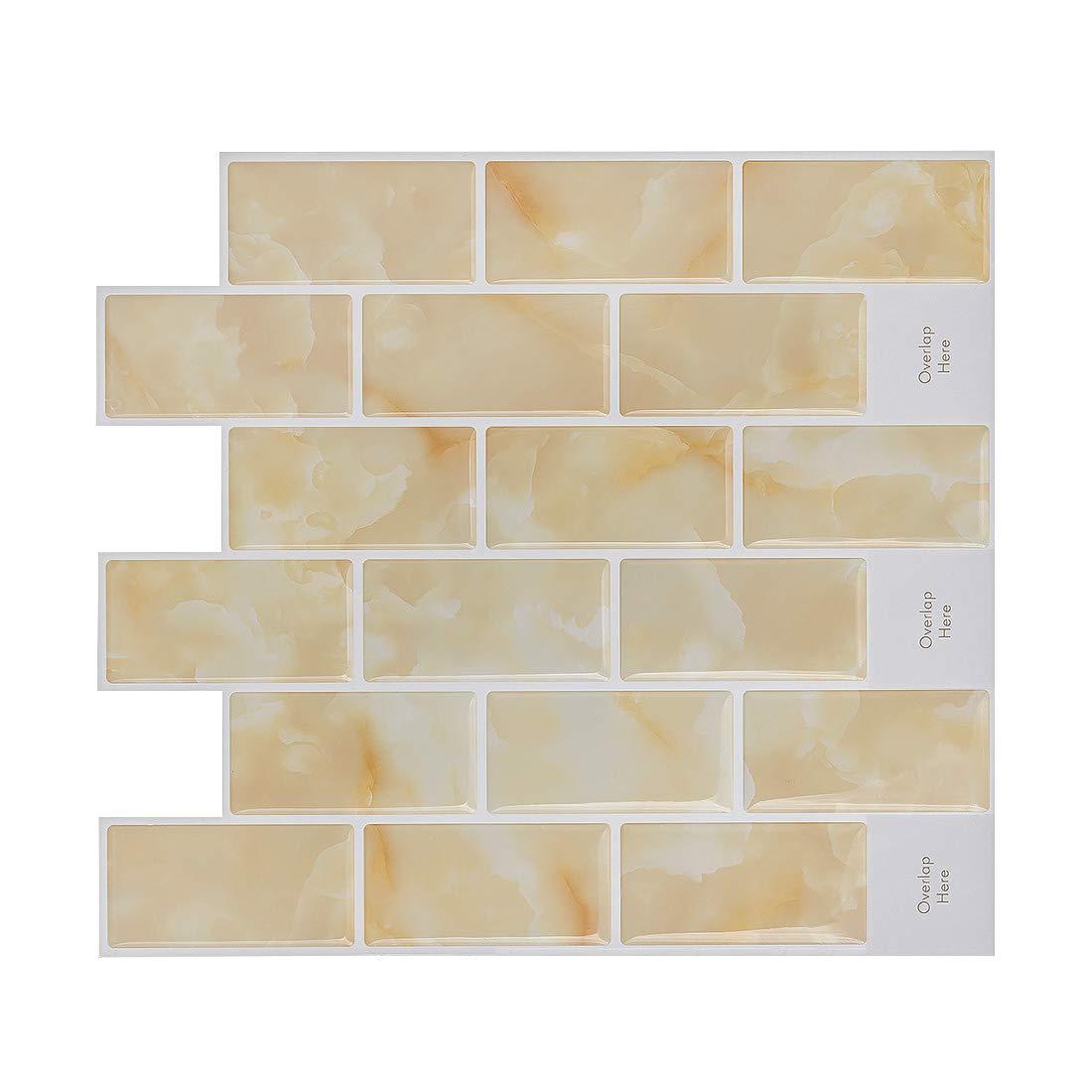 HUE DECORATION Peel and Stick Tile Backspalsh, Anti Mold Yellow Subway Backsplash Tile 11.26'' x 10'' Pack of 8