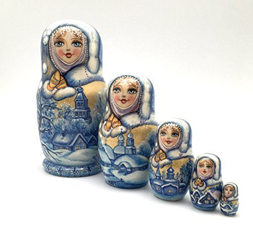 Unique One of the Kind Russian Nesting dolls ''Snow girl'' Hand Carved Hand Painted 5 piece set by BuyRussianGifts (Image #1)