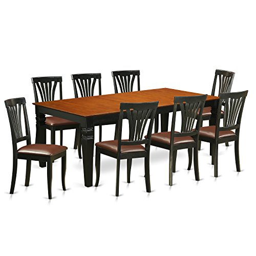East West Furniture LGAV9-BCH-LC 9Piece Table Set with One Logan Dining Table & Eight Dining Chairs in black & Cherry Finish