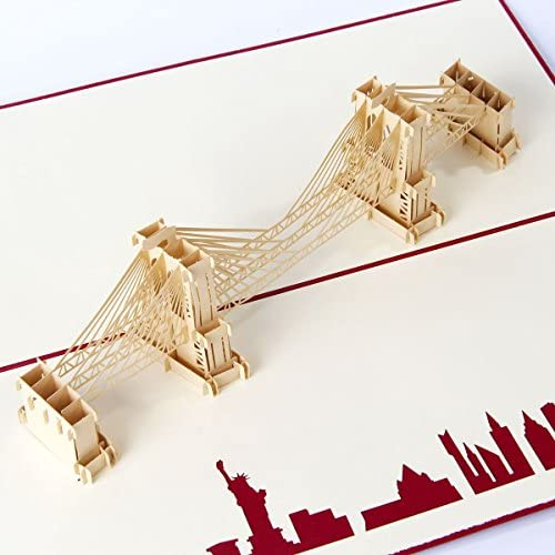 Paper Spiritz 3D Pop Up Greeting Cards Brooklyn Bridge Birthday Valentine Anniversary Mothers Fathers Day Christmas Sales