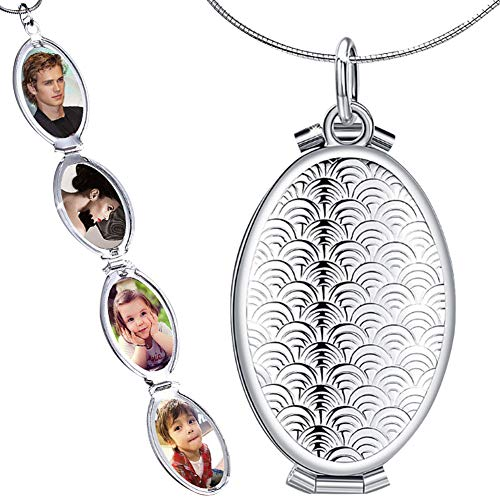 Nanafast Expanding Photo Locket Necklace Pendant 4 Pictures Locket Chain Necklaces Silver Gold Color, Silver Style 2