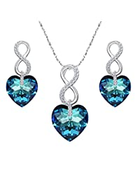 Ever Faith 925 Sterling Silver CZ Figure 8 Infinity Love Heart Pendant Necklace Earrings Set Bermuda Blue Adorned with Crystals from Swarovski®