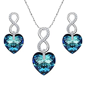EVER FAITH 925 Sterling Silver CZ Figure 8 Infinity Love Heart Pendant Necklace Earrings Set Adorned with Swarovski crystals