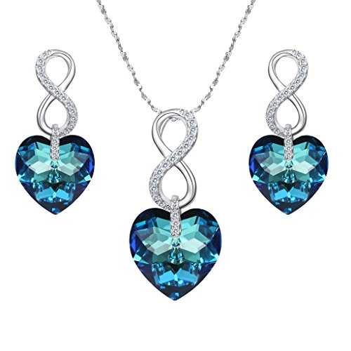 EVER FAITH 925 Sterling Silver CZ Infinity Heart Jewelry Set Blue Adorned with Swarovski Crystals (Jewelry 925 Set Silver)