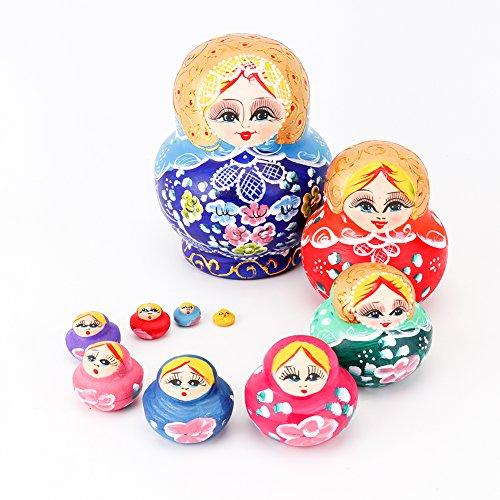 Looching 10pcs Beautiful Handmade Wooden Russian Nesting Doll Color Assorted Traditional Pattern Matryoshka Doll Ideal Wishing Gift Dolls