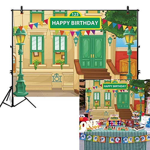 Allenjoy 7x5ft Sesame Street Backdrop for Boy Girl Birthday Party Decoration 1st First Carnival Party Children Kids Baby Shower Photography Background Dessert Table Photo Studio Booth Props Banner]()