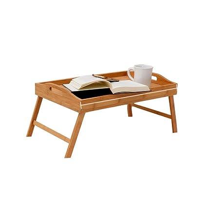Bambú Plegable Bandeja desayuno, Portátil Cama mesa bandeja Bandeja para servir Con doblar las piernas