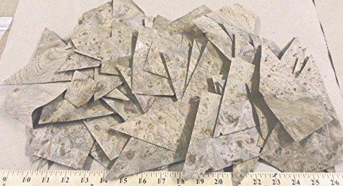 Carpathian Elm Burl wood veneer sample pack = 80 pieces (mostly triangular) - Burl Elm