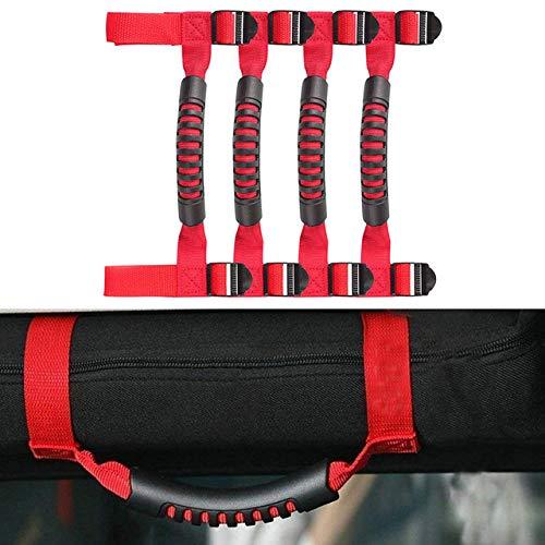 Tomeco Roll Bar Grab Handle Grip Hook Armrest Accessories for Jeep Wrangler JK TJ YJ CJ JL Sports Sahara Rubicon & Unlimited 1987-2018 - (Color Name: Red 4 Door)