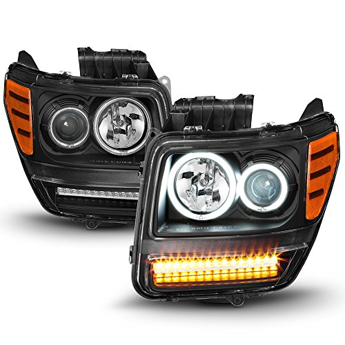ACANII - For Blk 2007-2012 Dodge Nitro LED Turn CCFL Halo DRL Projector Headlights Headlamps Driver + Passenger Side ()