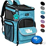 PetAmi Pet Carrier Backpack for Small Cats, Dogs, Puppies | Ventilated Structured Frame, 4 Way Entry, Safety and Soft Cushion Back Support | Collapsible for Travel, Hiking, Outdoor (Turquoise)