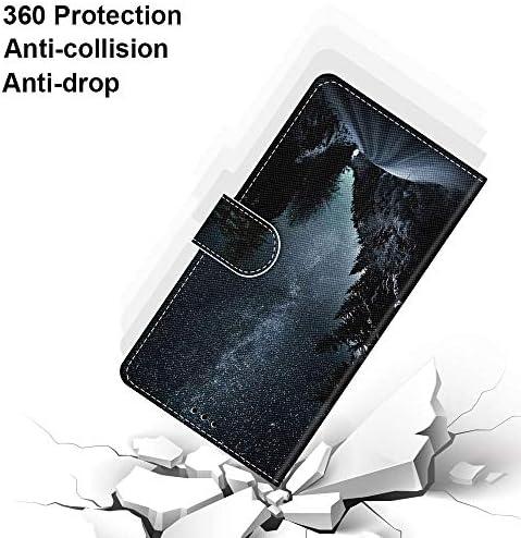 Miagon Flip PU Leder Schutzhülle für Samsung Galaxy M20,Bunt Muster Hülle Brieftasche Case Cover Ständer mit Kartenfächer Trageschlaufe,Gold Schmetterling