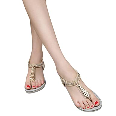 Women Flat Thong with T-Strap Sandals Rhinestone Casual Rome Crystal Ankle  Strap Bohemia Beach