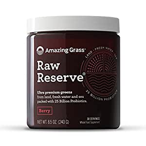 Amazing Grass, Raw Reserve Green Superfood Organic Powder with 25 Billion Probiotics, Wheat Grass and Greens, Flavor: Berry, 30 Servings