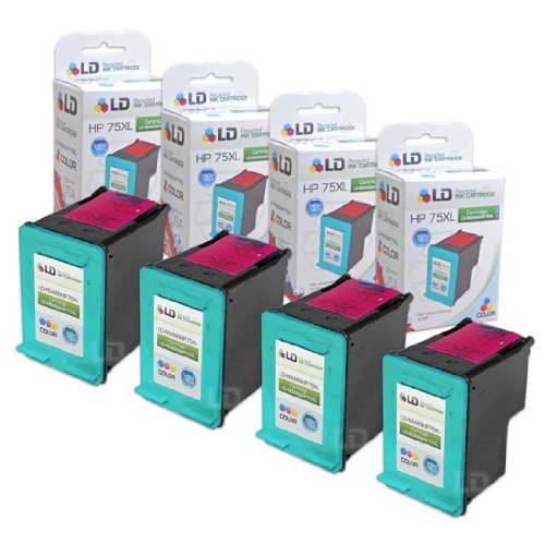 LD Remanufactured Replacement Ink Cartridges for Hewlett Packard CB338WN (HP 75XL) High-Yield Tri-Color (4 Pack)