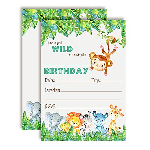 Get Wild Watercolor Jungle Animals Birthday Party Invitations, 20 5