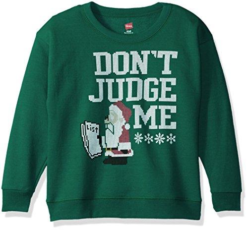 Hanes Big Boys' Ugly Christmas Sweatshirt, Emerald Night Don't Judge, XL (Kids Ugly Christmas Sweater)