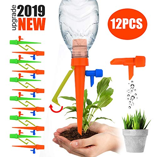 【2019 NEW 】Plant Self Watering Spikes System with Slow Release Control Valve Switch Self Irrigation Watering Drip Devices, Plant Waterer with Anti-Tilt Anti-Down Bracket, Suitable for All Bottles (House Plant Watering System)