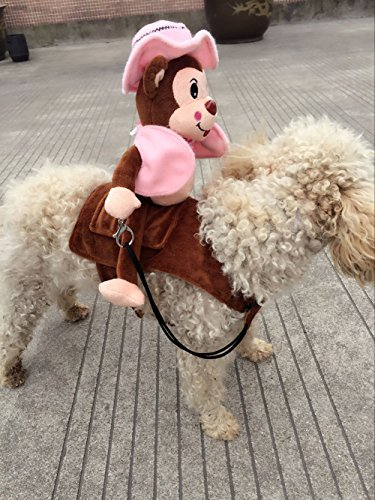 MUST ROSE SPORTS AND HOMEWEAR Riding Horse Dog Costume Novelty Funny Party Pet Dog Costume Large Dog Clothes Monkey Clothing(Large, Pink) ()
