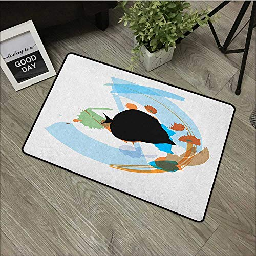 Interior mat W31 x L47 INCH Fish,Silhouette of a Discus Cichlid in a Partly Illustrated Bowl Cartoon in Pastel Colors, Multicolor Non-Slip Door Mat Carpet