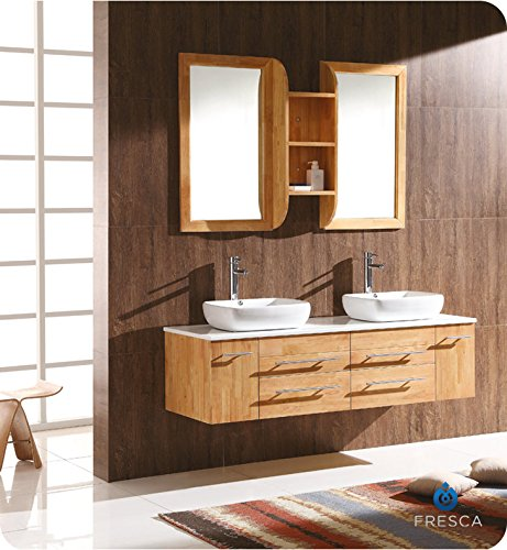 Fresca Bath FVN6119NW Bellezza Double Vanity Sink, Natural Wood - Contemporary Bath Vanity Sink Wood