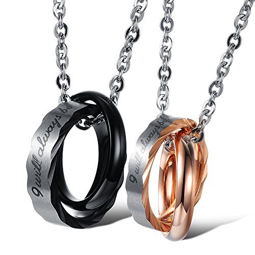 Titanium Stainless Steel Couple Charm Pendant Necklace His & Her Be With You Matching Set Interlocking Double Rings Engraved Promise Chain for Men & Women, 1 Pair