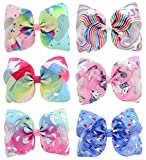 YHXX YLEN 6 Pcs 8 Inch Large Unicorn Colorful Bow Hairpin Girls Bows With Clip Hair Bows (Style 2)
