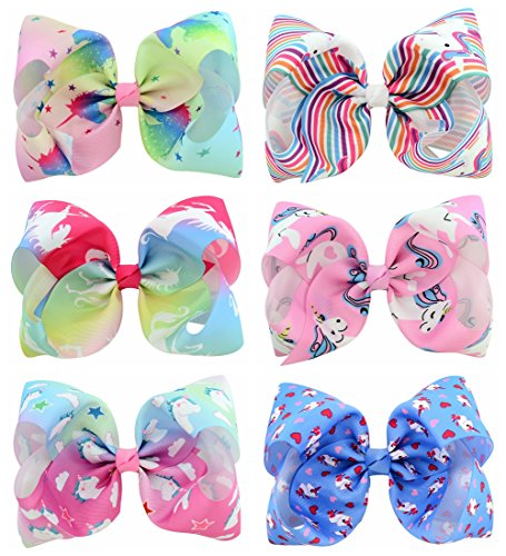 YHXX YLEN 6 Pcs 8 Inch Large Unicorn Colorful Bow Hairpin Girls Bows With Clip Hair Bows (Style 2) by YHXX YLEN