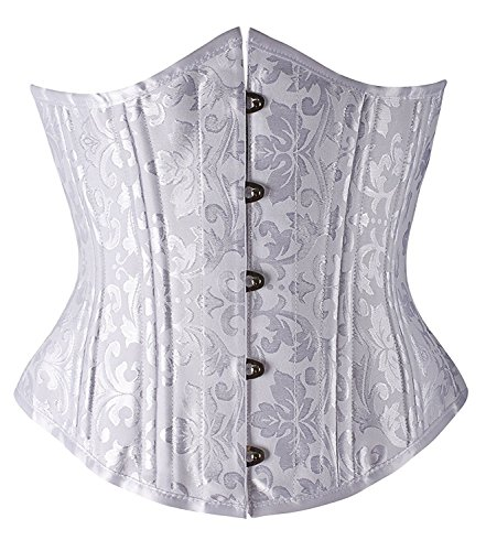 UPC 710219054007, Camellias Women's 26 Double Steel Boned Underbust Waist Trainer Corset for Weight Loss Heavy Duty Waist Training Cincher Shaper Slimmer White Brocade Plus Size Availabler, SZ1912-White-M