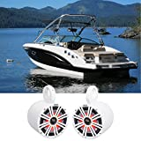 (2) KICKER 45KM84L 8' 600 Watt Marine Boat Wakeboard Tower Speakers w/LED's KM8