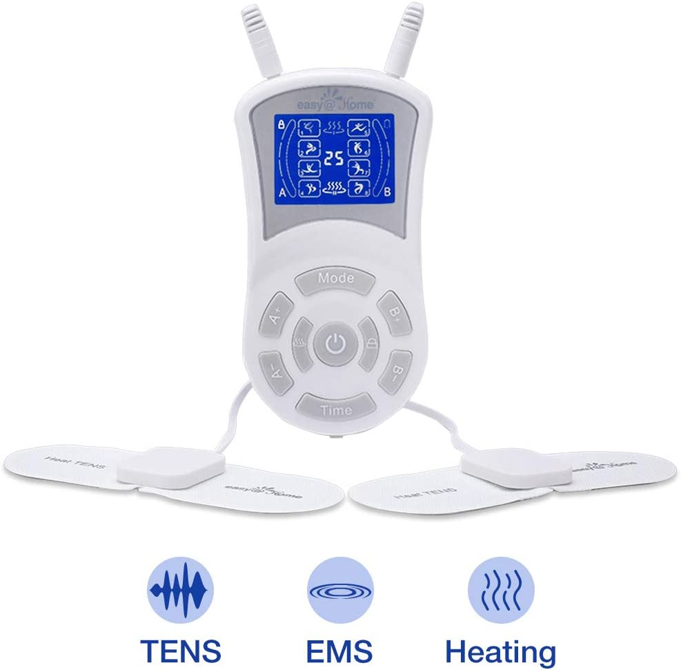 Easy@Home Professional Rechargeable TENS Unit + Heat Therapy + EMS, 510K Cleared, FSA Eligible Portable Pain Management and Muscle Stimulator Massager, Pain Relief Therapy Device EHE018
